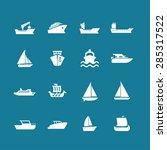 ship cruise yacht icon set | Shutterstock .eps vector #285317522