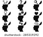 black open human head icons set | Shutterstock .eps vector #285319292