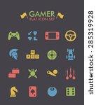 vector flat icon set   gamer