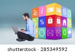 businessman sitting on the... | Shutterstock . vector #285349592