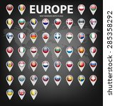 white map markers with flags  ... | Shutterstock .eps vector #285358292