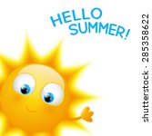 cartoon sun with summer word | Shutterstock .eps vector #285358622