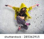 Teenager Girl Dancing Hip Hop...