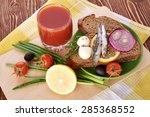 sardines on slice bread   Shutterstock . vector #285368552