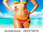 Colorful Bikini Woman With...