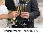 wedding  bride  champagne. | Shutterstock . vector #285382472