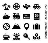 travel icons set on white... | Shutterstock .eps vector #285384392