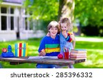 child in school. smart teenager ... | Shutterstock . vector #285396332