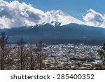 fujikawa town and mountain fuji ... | Shutterstock . vector #285400352