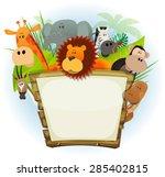 wild animals zoo wood sign ... | Shutterstock .eps vector #285402815