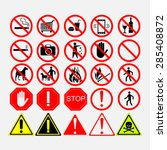 set of road signs  warning or...   Shutterstock .eps vector #285408872