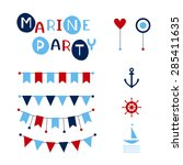 vector party flags. marine... | Shutterstock .eps vector #285411635
