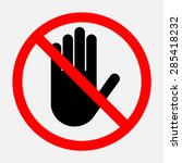 Stop Red Octagonal  Hand Sign...