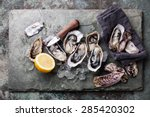 oysters on stone plate with ice ... | Shutterstock . vector #285420302