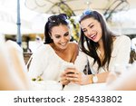 two young girls talking and... | Shutterstock . vector #285433802