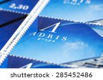 Small photo of CROATIA - CIRCA 2008: Adris stamp (first Croatian commercial postage stamp).