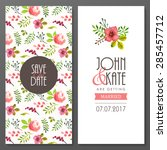 set of invitation cards with... | Shutterstock .eps vector #285457712