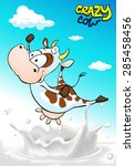 design with crazy cow jumping... | Shutterstock .eps vector #285458456