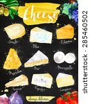 poster cheese watercolor  gouda ... | Shutterstock .eps vector #285460502