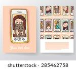 doodle smartphone brochure... | Shutterstock .eps vector #285462758