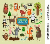 vector forest animals set.... | Shutterstock .eps vector #285463352