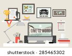 workspace in room with desk... | Shutterstock .eps vector #285465302