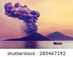 volcano eruption. anak krakatau ... | Shutterstock . vector #285467192