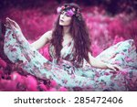 beautiful playful fairy  woman... | Shutterstock . vector #285472406