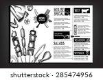 cafe menu restaurant brochure.... | Shutterstock .eps vector #285474956