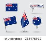 set of australian pin  icon and ...