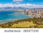 view of waikiki beach and... | Shutterstock . vector #285477245