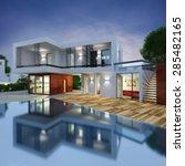 project of a luxury villa in 3d | Shutterstock . vector #285482165