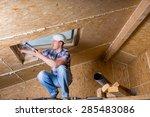 male construction worker... | Shutterstock . vector #285483086