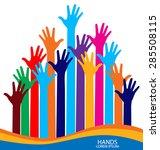 raised hands. vector... | Shutterstock .eps vector #285508115