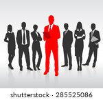 Red Businessman Silhouette ...