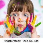 portrait of a cute cheerful... | Shutterstock . vector #285533435