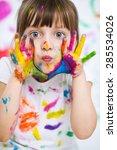 portrait of a cute cheerful... | Shutterstock . vector #285534026