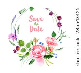 watercolor floral wreath on... | Shutterstock .eps vector #285543425