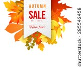sales banner with autumn leaves | Shutterstock .eps vector #285543458