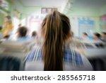 rear view of little girl in... | Shutterstock . vector #285565718