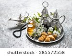 islamic holidays food with...   Shutterstock . vector #285572558
