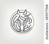 Stock vector the horse head outline logo icon design the horse head logo icon design in mono line style on the 285577568