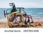wheelchair on the beach against ... | Shutterstock . vector #285581408