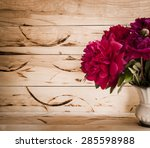 floral frame with pink peonies... | Shutterstock . vector #285598988
