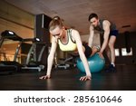 girl in activewear doing push... | Shutterstock . vector #285610646