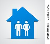 3d family icon and house.... | Shutterstock .eps vector #285614642