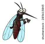 Cartoon Smiling Mosquito.