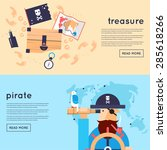 set of pirates banners. flat... | Shutterstock .eps vector #285618266