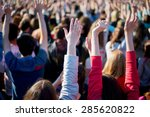 the crowd with raised hands | Shutterstock . vector #285620822