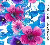watercolor seamless floral... | Shutterstock .eps vector #285621512